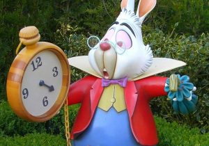 Alice in Wonderland rabbit checking the time
