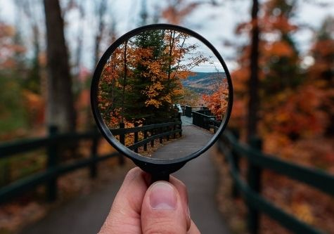 magnifying glass on path